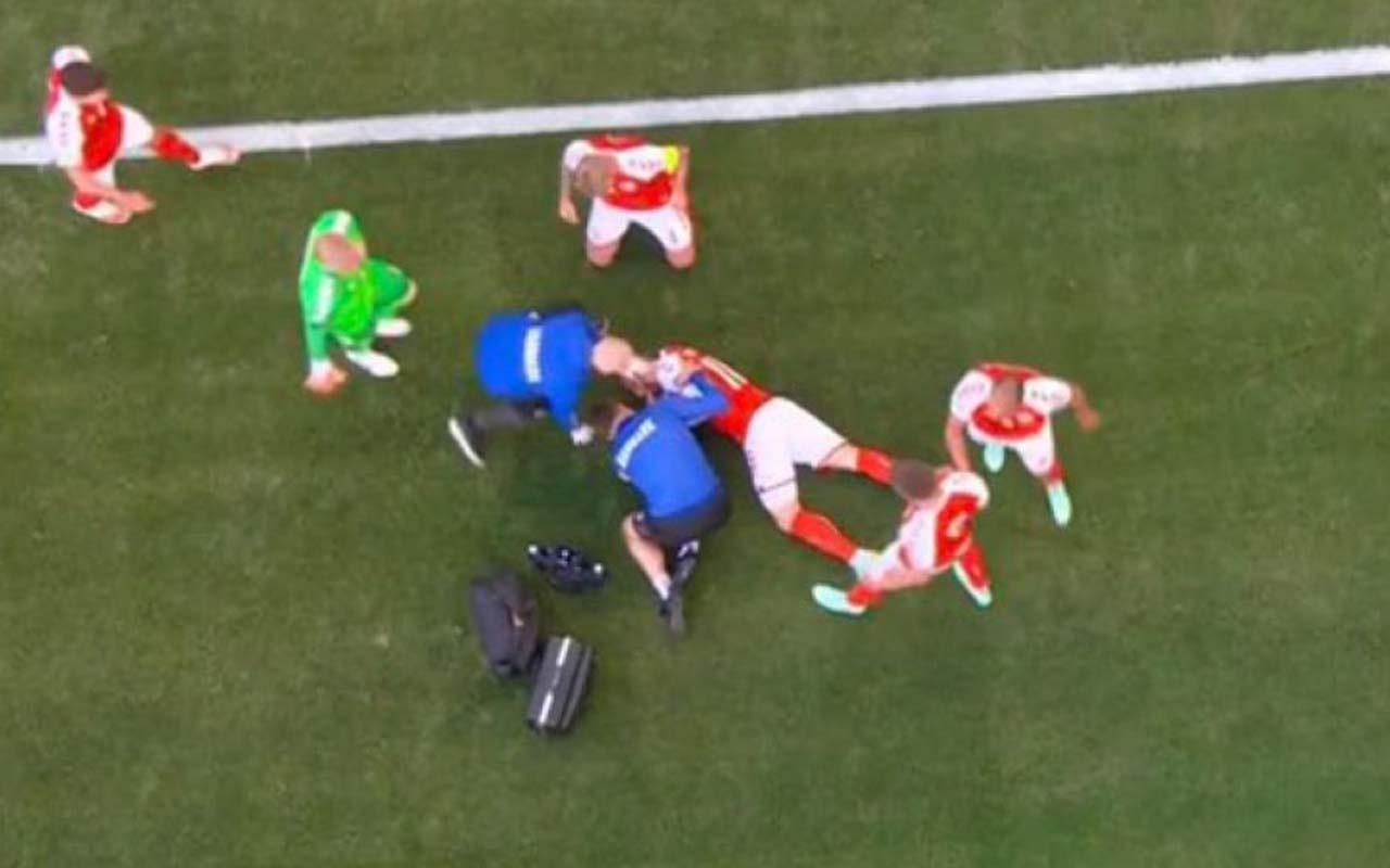 Fenalaşan Christian Eriksen'e kalp masajı yapıldı! Danimarka-Finlandiya maçında üzücü olay