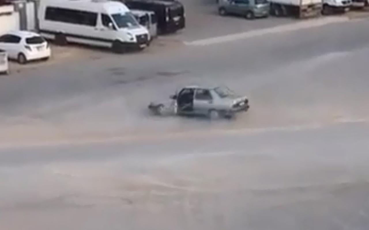 Antalya'da kapısı açık araçla drift yapıp kaza yapan sürücü cezadan kurtulamadı