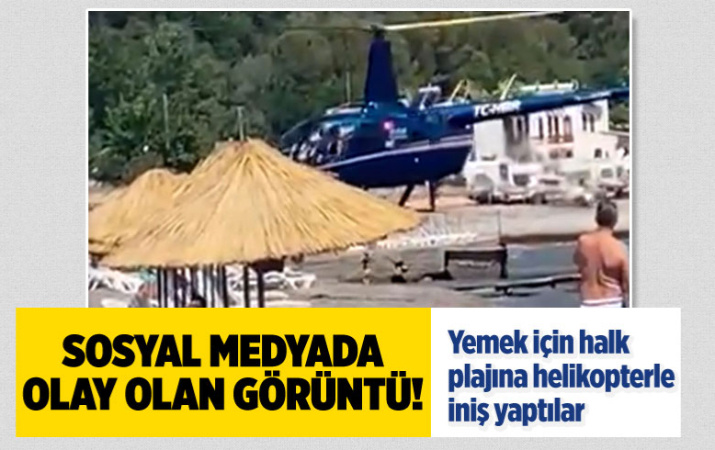 Pes dedirten görüntü! Marmaris'te yemek için halk plajına helikopterle iniş yaptılar