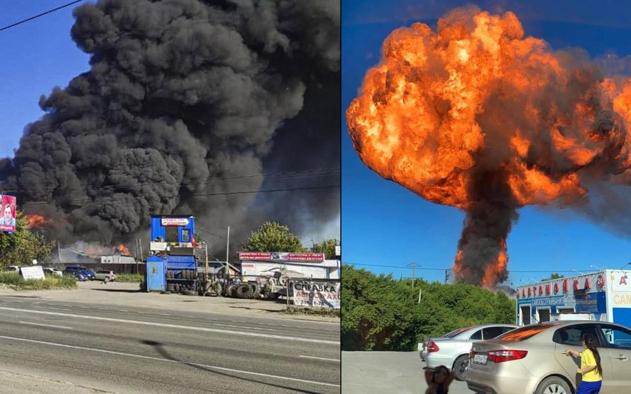 Rusya'da akaryakıt istasyonu patladı! Gökyüzünü dumanlar kapladı