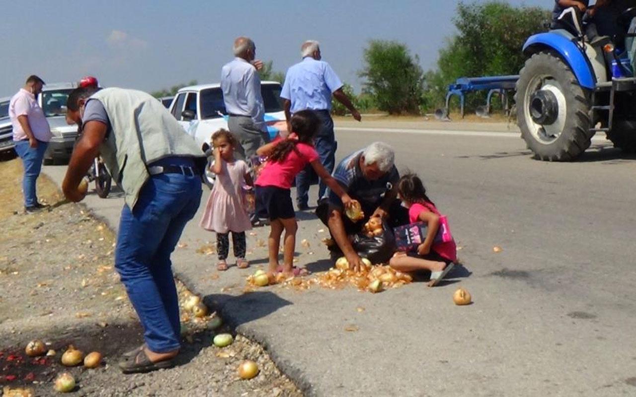 Adana'da 'para etmiyor' diye Meral Akşener'in önüne döktüğü soğanları gidince geri topladı