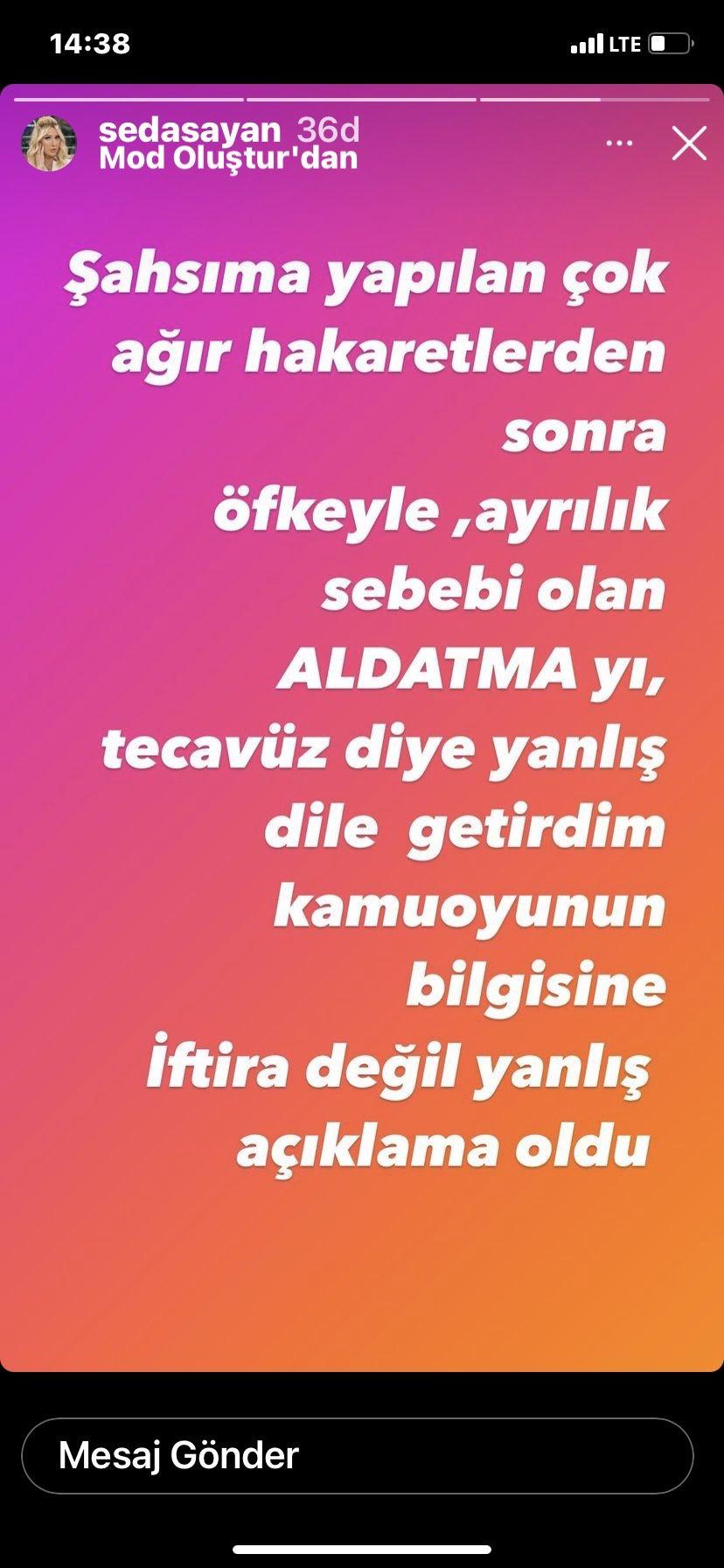 Seda Sayan Mehmet Ali Erbil olayında geri adım: Tecavüz değil aldatma, iftira değil....