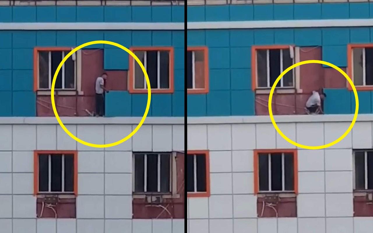 Siirt'te bir kişi metrelerce yüksekliğe çıkıp ölümü göze alarak hırsızlık yaptı