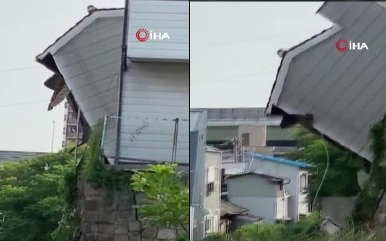 Sesi duyan kaçtı 2 bina çöktü! Dehşete düşüren görüntü