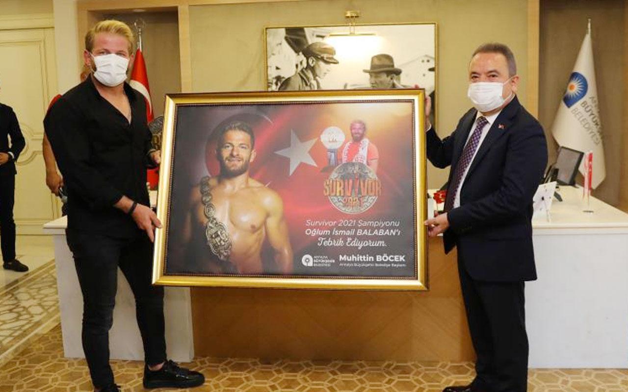 Survivor şampiyonu İsmail Balaban'dan Başkan Böcek'e ziyaret