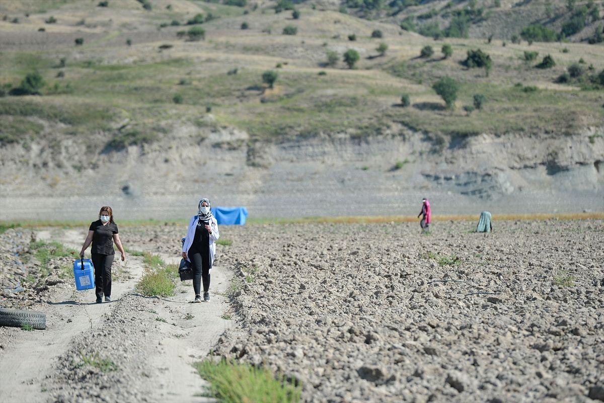 Sıcak uzak demediler! Tunceli'de mevsimlik işçiler aşıya gidemeyince sağlık ekipleri tarlaya indi