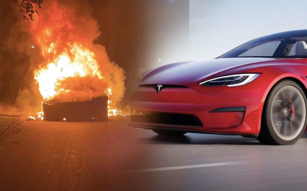 Bir Tesla araç daha alev topuna döndü sürücü son anda kurtuldu