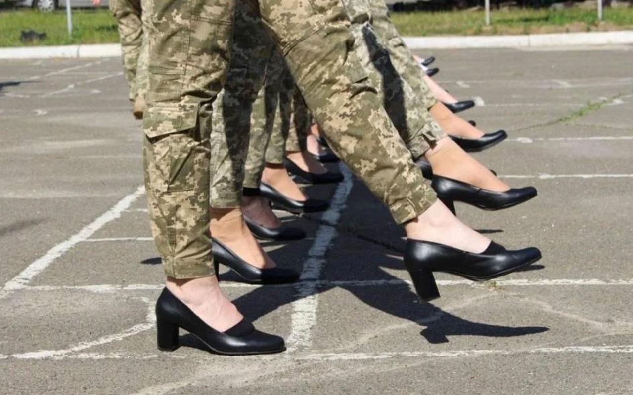 Kadın askerlere resmi tören provasında topuklu ayakkabı giydirildi ortalık karıştı