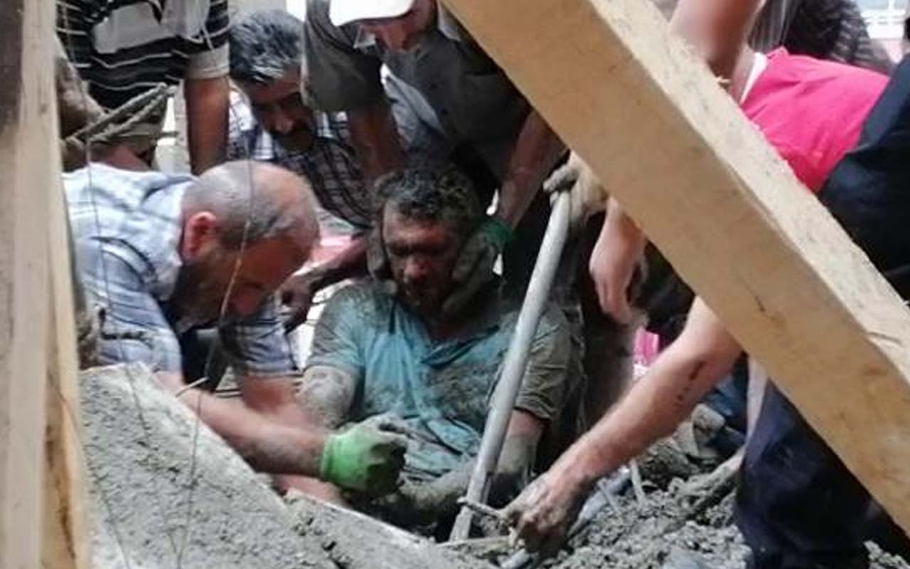Erzurum'da cami inşaatında çökme! İşçileri kurtarmak için zamanla yarıştılar