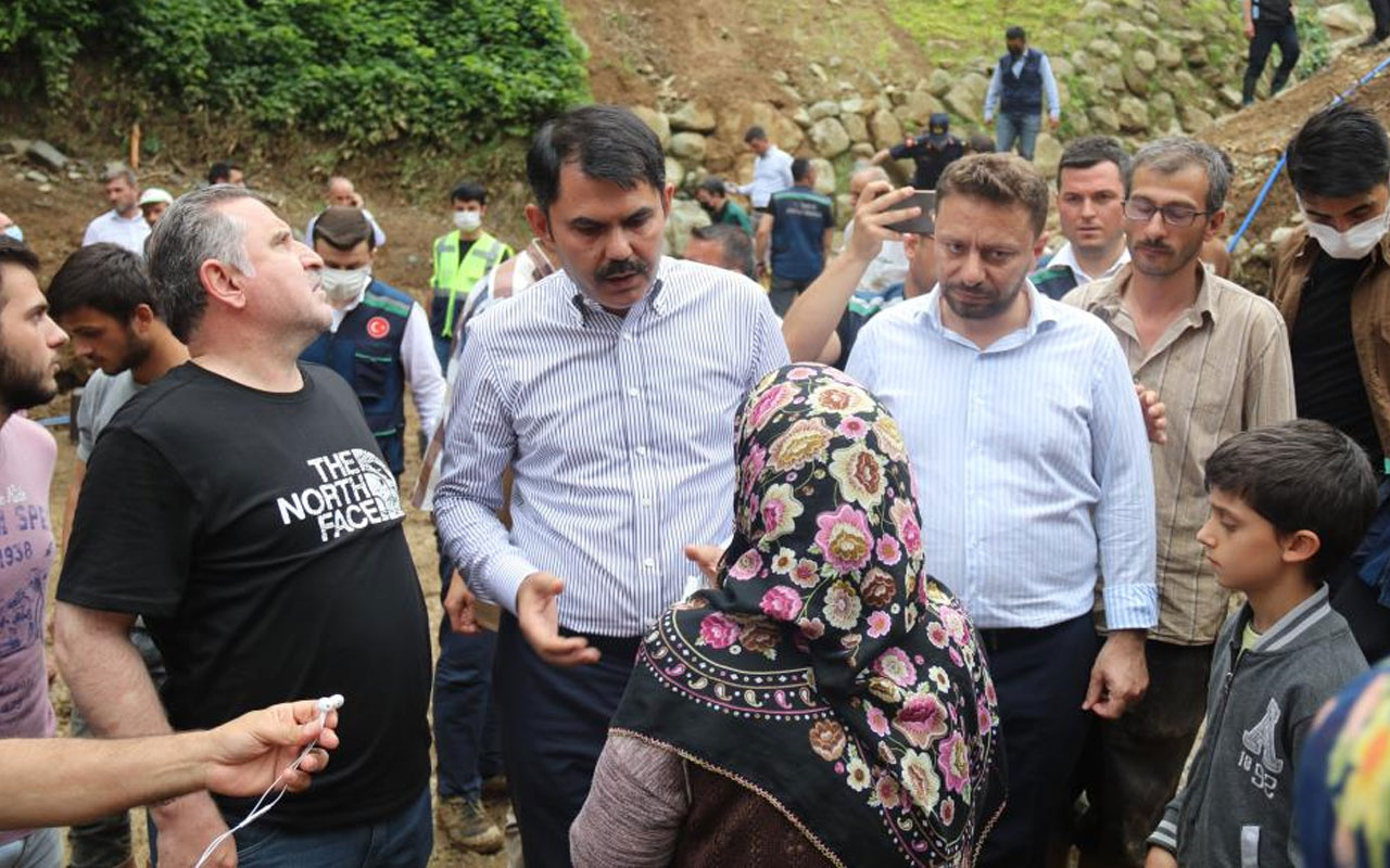 """Bakan Murat Kurum felaketin yaşandığı Ballıdere köyünde! """"Amacımız  bir an önce yaraları sarmaktır"""""""