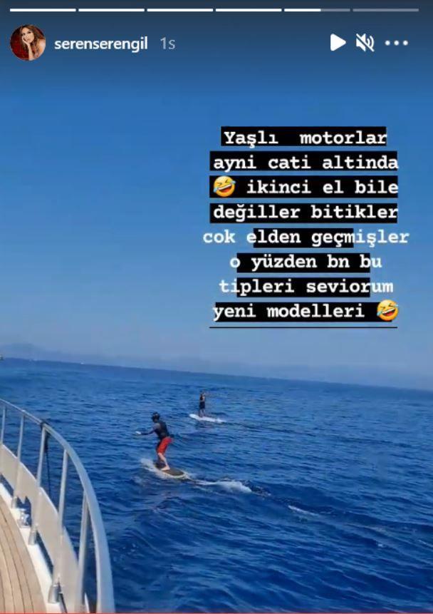 Seda Sayan Gülben Ergen'in tekne keyfine Seren Serengil'den 'yaşlı motorlar' iması