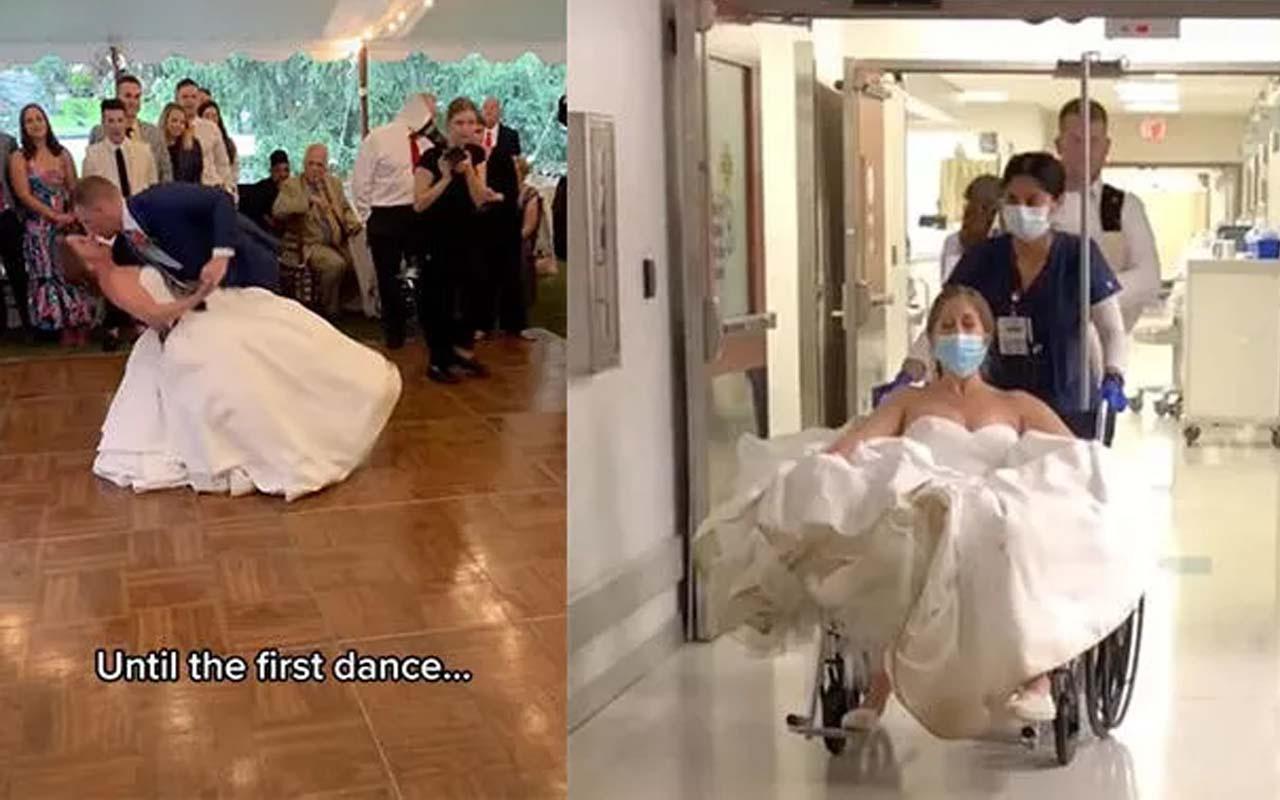Düğünde görülmemiş talihsizlik! ABD'li çiftin ilk dansı hastanede bitti