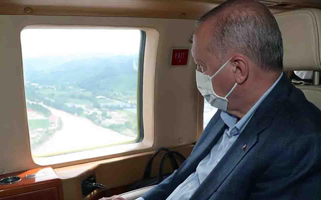 Cumhurbaşkanı Erdoğan'ı taşıyan helikopter Rize limanına zorunlu iniş yaptı