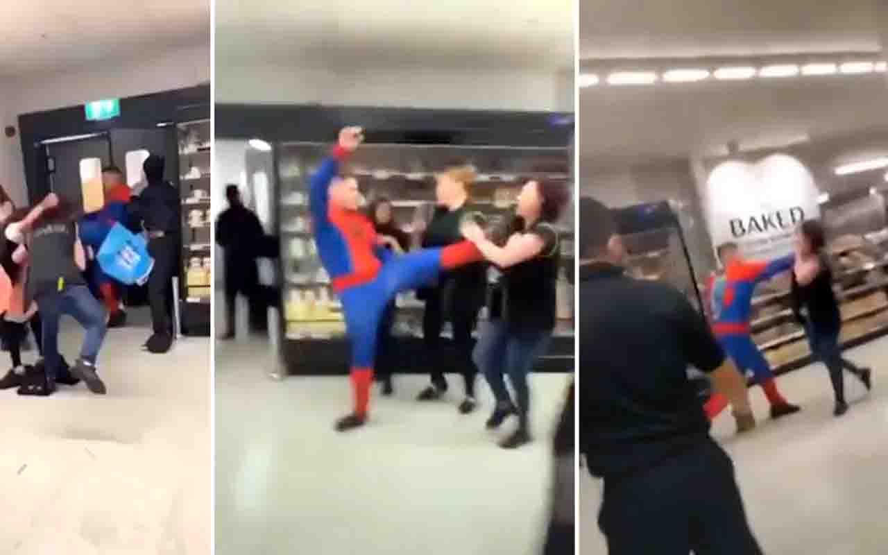 Örümcek adam markette dehşet saçtı! Kostümlü saldırgan 6 kişiyi yaraladı