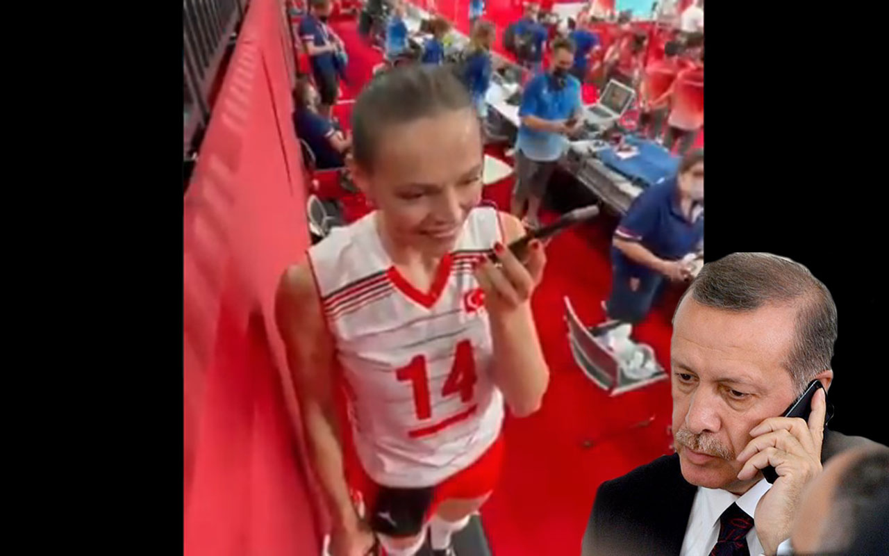 CumhurbaşkanıErdoğan A Milli Kadın Voleybol Takımı kaptanı Eda'yı telefonla aradı işte o anlar