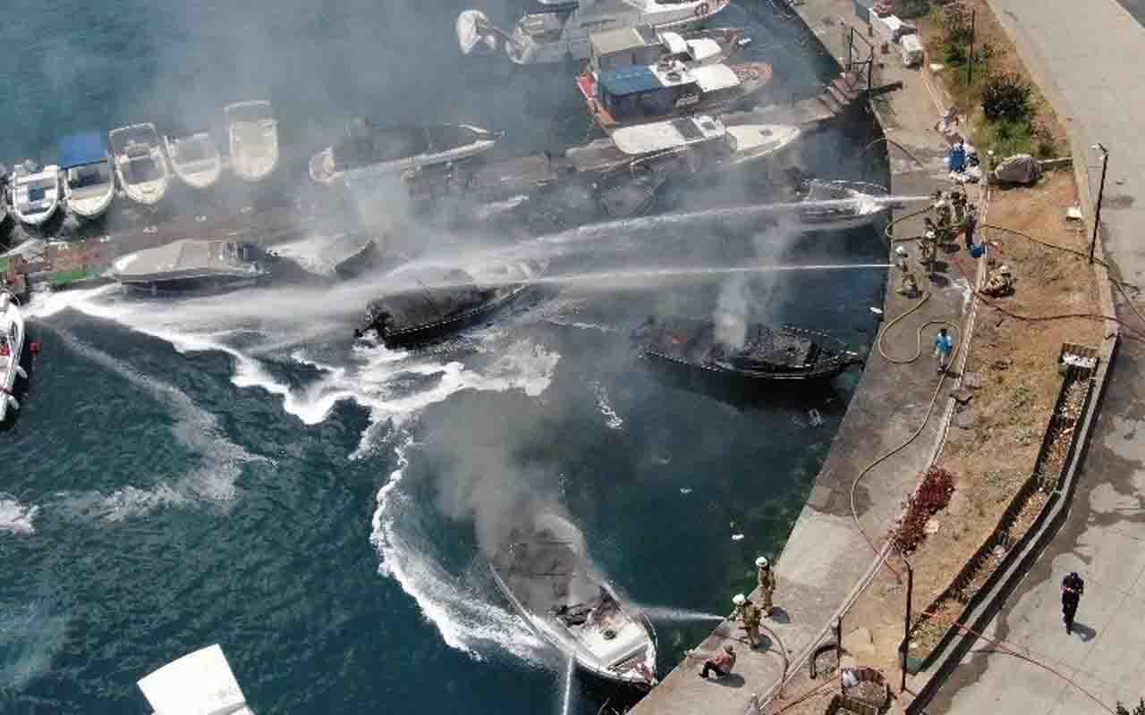 Kartal Dragos sahilinde tekne yangını! 8 tekne alevlere teslim oldu