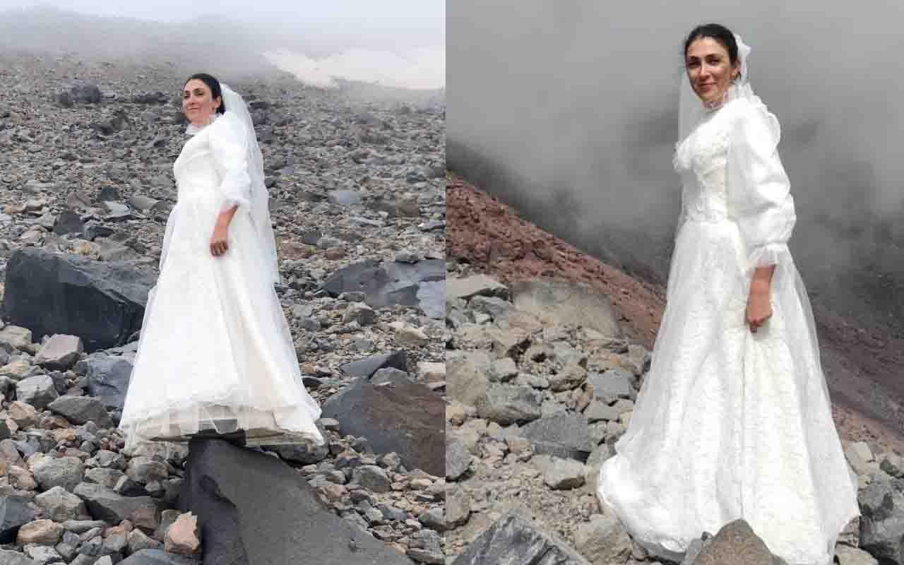 Gelinlikle tırmandığı Ağrı Dağı'yla evlendi! İlginç davranış: Mesaj vermek istedim