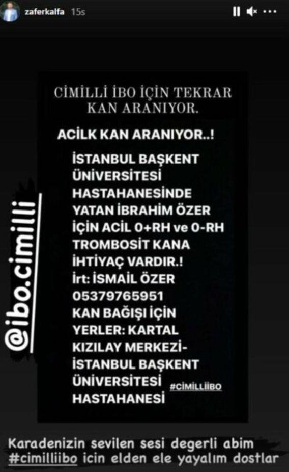 'Cimilli İbo' İbrahim Özer'den kötü haber! Yoğun bakıma alındı
