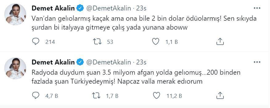 Demet Akalın'dan 'Afgan mülteci' tepkisi... Twitter'dan isyan etti!