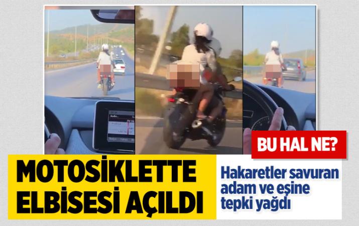 İzmir'de motosiklette elbisesi açıldı iç çamaşırı gözüktü! Hakaret eden adama tepki yağdı