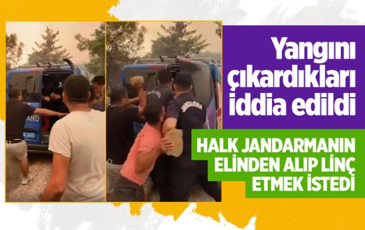 Antalya'da yangını çıkardıkları düşünülen kişilere linç girişimi