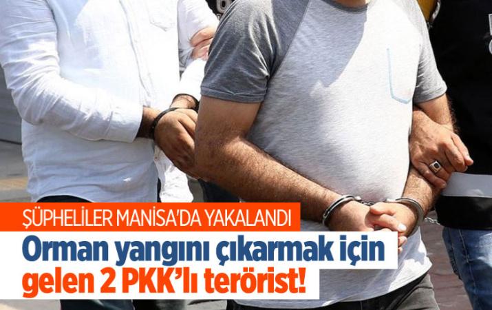Manisa'da orman yangını çıkarmak için gelen PKK'lı 2 terörist yakalandı