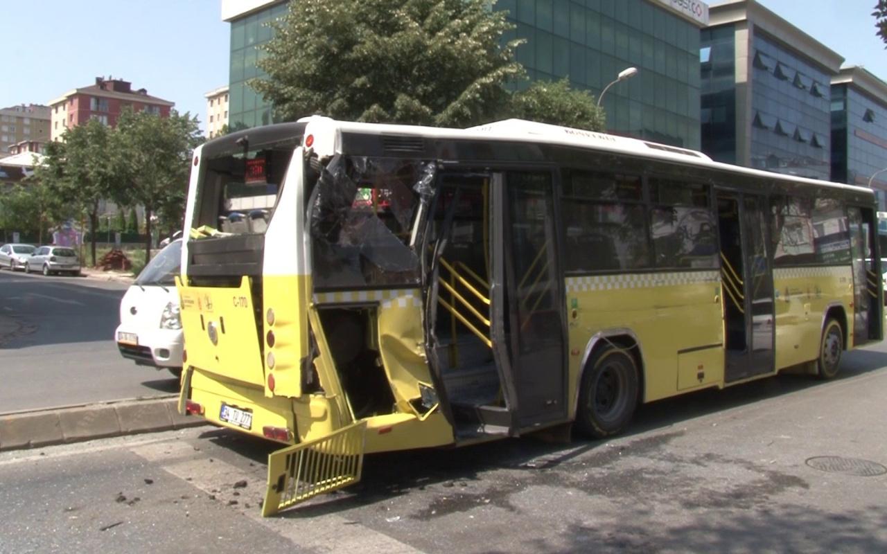 Ümraniye'de halk otobüsü ile kamyon çarpıştı: 1 yaralı