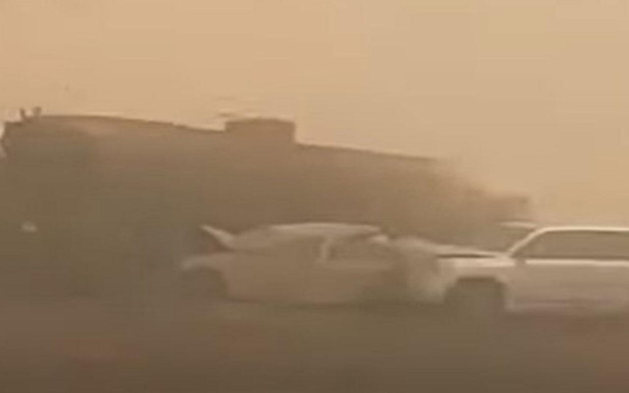 Suudi Arabistan'da kum fırtınası zincirleme kazaya neden oldu! 2 ölü, 14 yaralı var