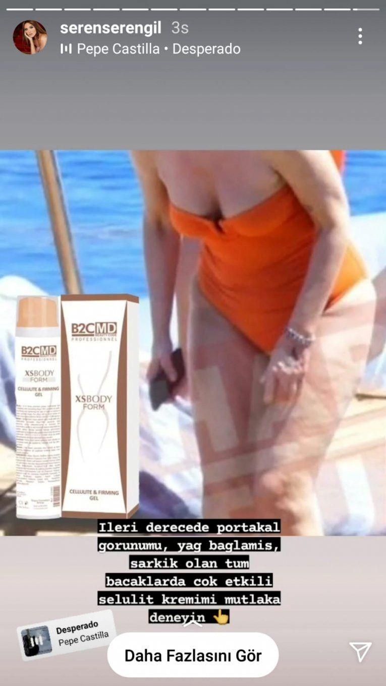 Seren Serengil selülit kremi reklamında Gülben Ergen'in fotoğrafını kullandı!