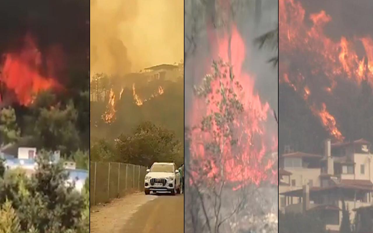 Alevler her yeri sardı mahalleler boşaltıldı evler yanıyor! Muğla yangınında son görüntüler