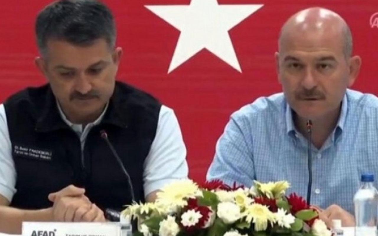 Tarım ve Orman Bakanı Bekir Pakdemirli ile İçişleri Bakanı Süleyman Soylu'dan yangın açıklaması