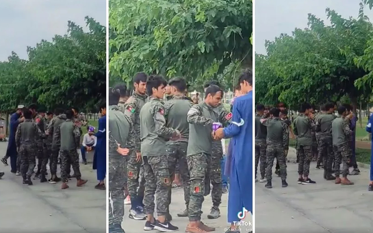 Polis müdahale etti! Zeytinburnu sahilinde asker kıyafetiyle görüntülenen Afganlar tepki çekmişti