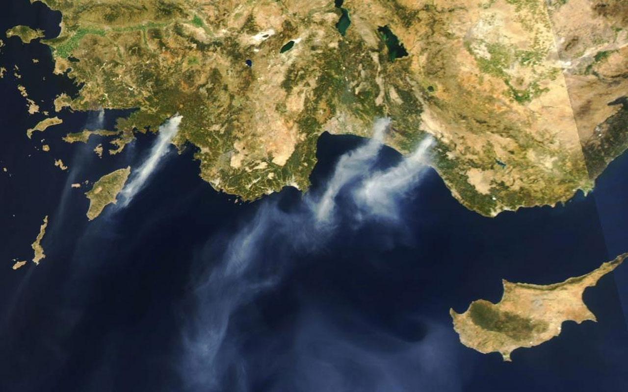 NASA yayınladı Köyceğiz'deki orman yangının uzaydan görüntüsü