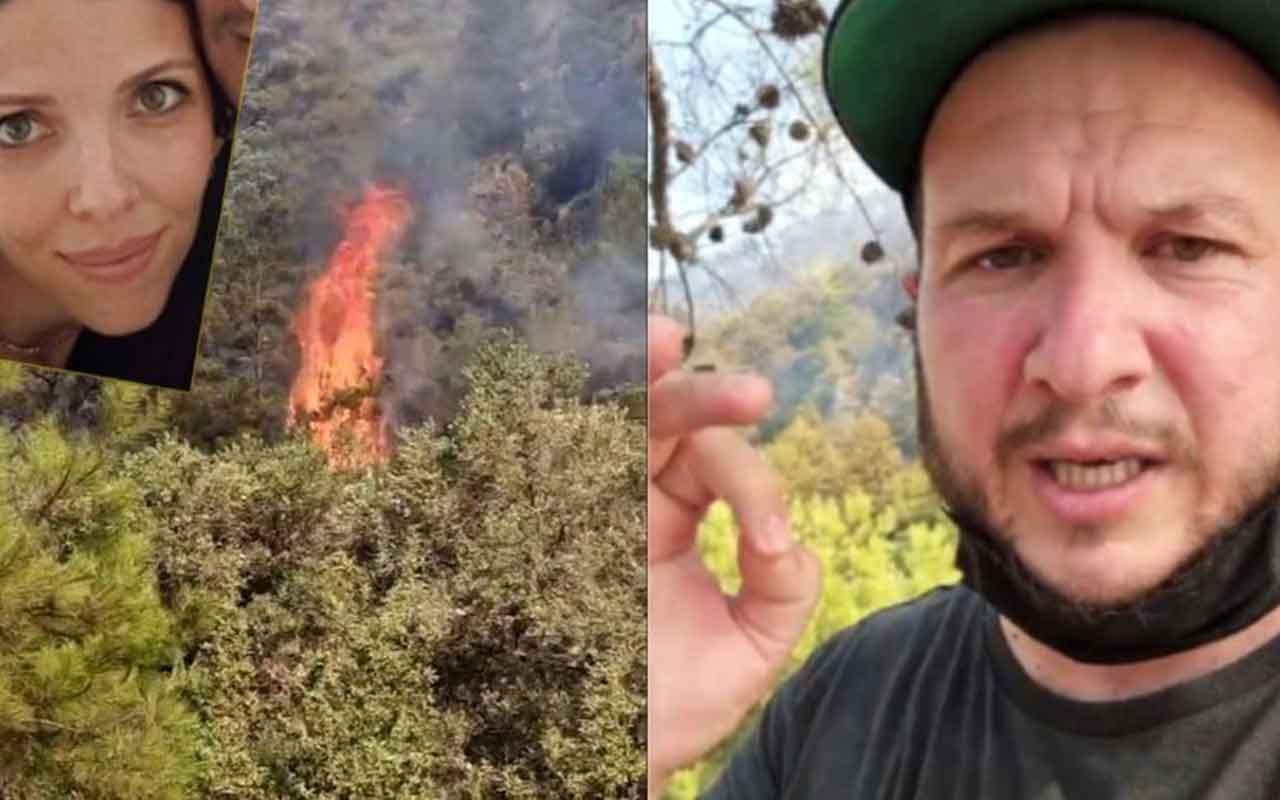 Marmaris yangınında alevler Şahan Gökbakar'ın evine yaklaştı! Eşini teselli etti