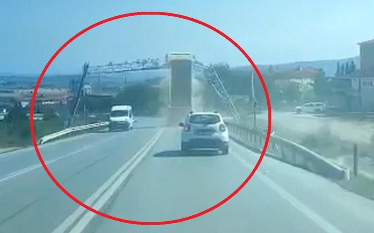 Kocaeli'de kamyonun damperi açılınca olanlar oldu! Feci kaza kamerada