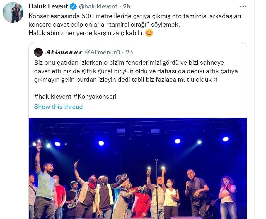 Haluk Levent konserini çatıdan izleyen oto tamircilerini sahneye davet etti