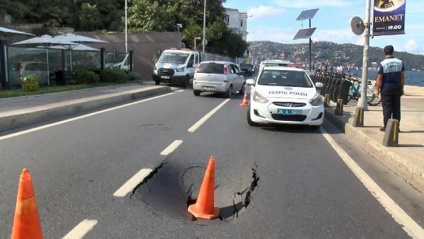 Sarıyer sahilinde yol bir anda çöktü! Çok büyük kaza atlatıldı
