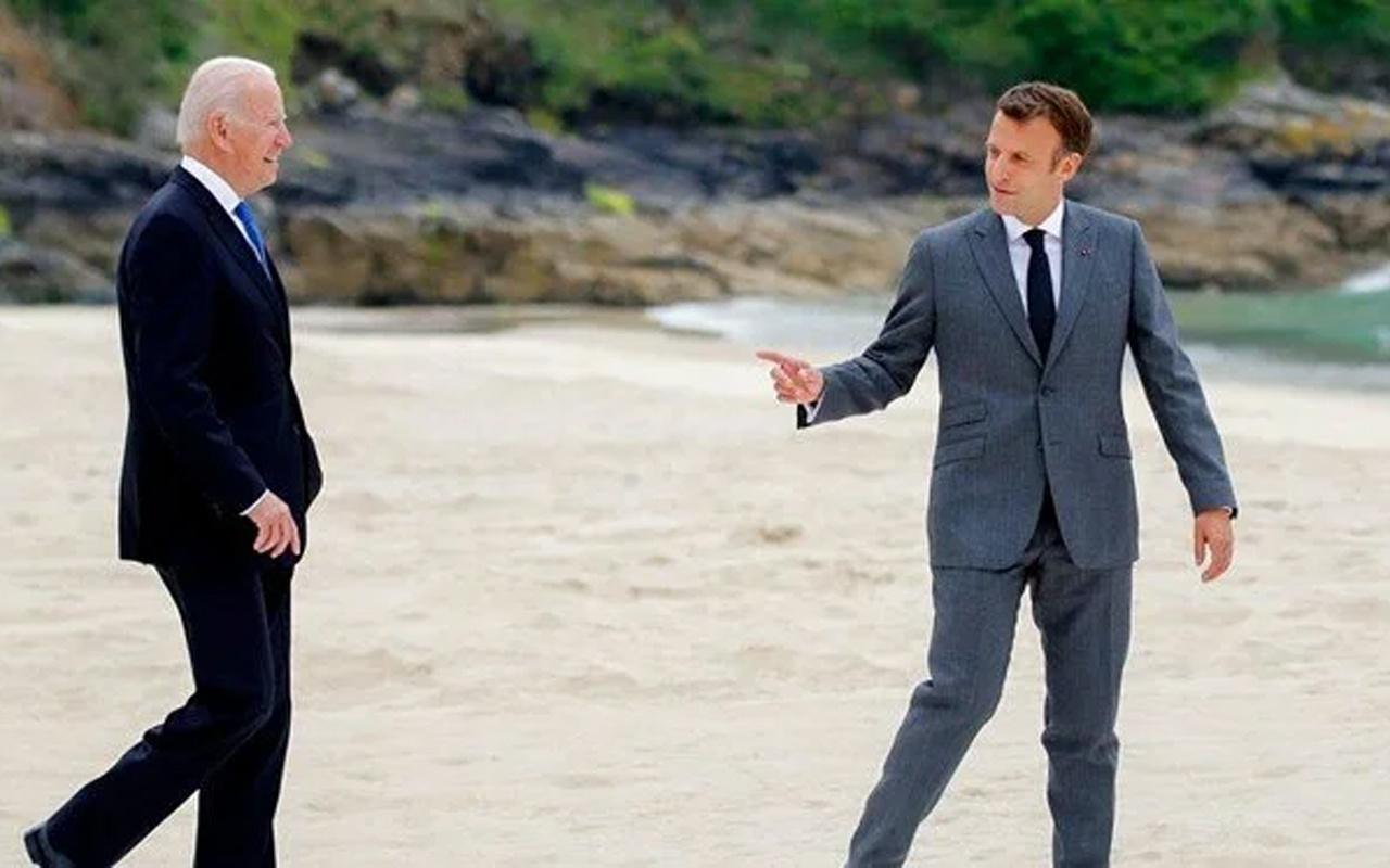 """Biden ve Macron """"denizaltı krizi"""" için görüştü"""