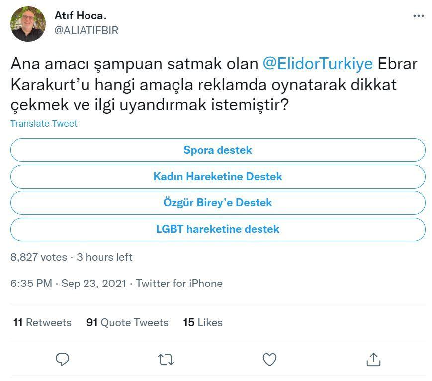 Ebrar Karakurt'un şampuan reklamına Ali Atıf Bir'den 'eşcinsellik' eleştirisi