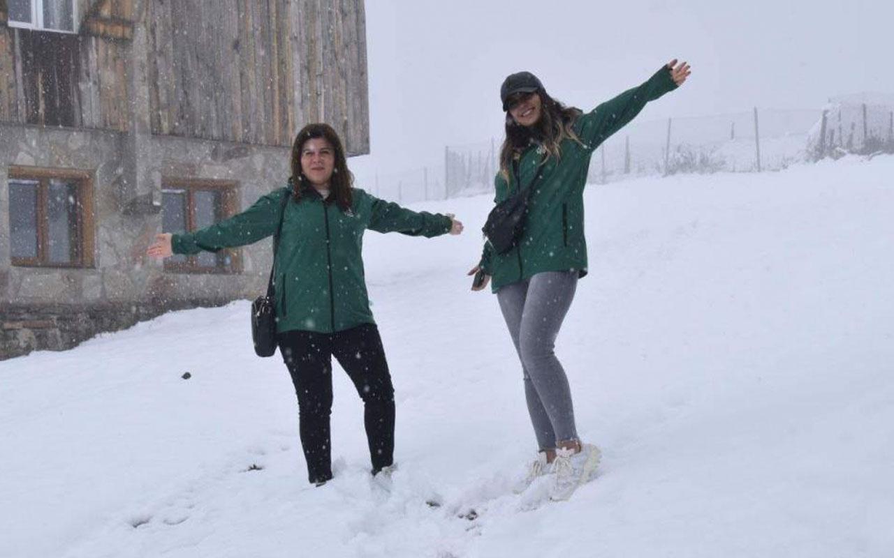 Trabzon Çaykara'da kar kalınlığı 30 santimetreyi buldu