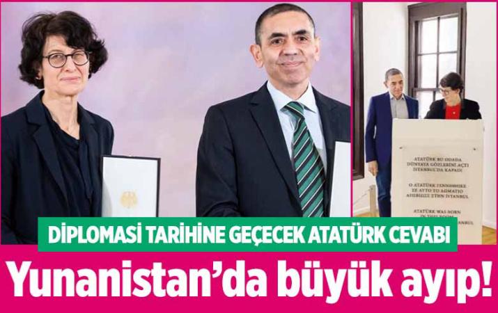 Özlem Türeci ve Uğur Şahin'den diplomasi tarihine geçecek Atatürk cevabı! Yunanistan'da büyük saygısızlık!