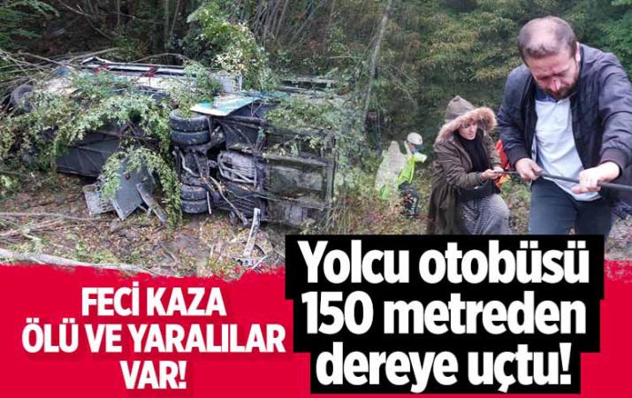 Samsun'da feci kaza! Yolcu otobüsü 150 metre yüksekten dereye uçtu! Ölü ve yaralılar var!